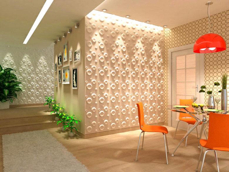 3d панели в интерьере кухни