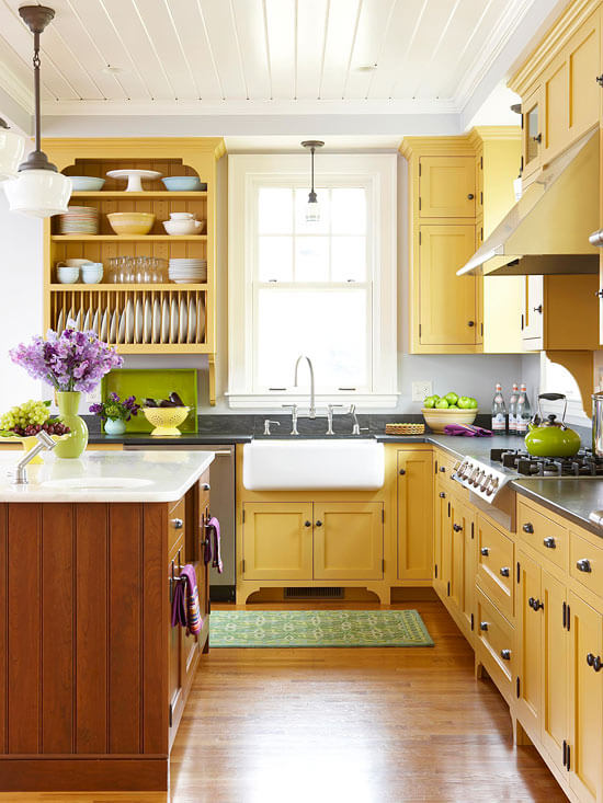 кухонные шкафы желтого цвета - Рода