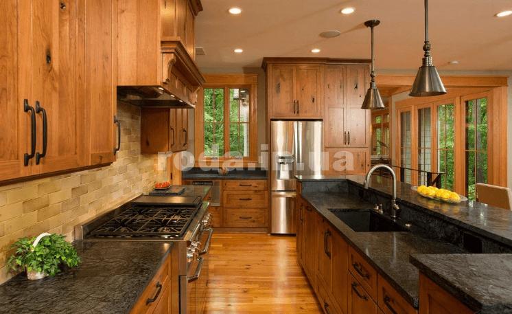 дерево в интерьере кухни кухонный остров