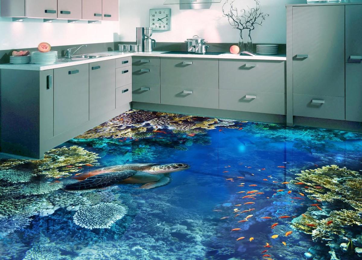 3d панно на полу кухни